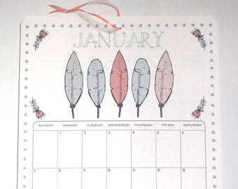 2018 Wall Calendar, Size 11x17 Inches featuring 12 different vintage inspired illustrations in gray, pink, periwinkle and green