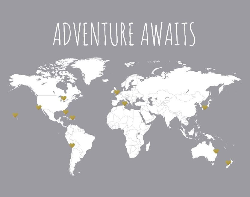 Adventure awaits diy world map and sticker kit travel map zoom gumiabroncs Images
