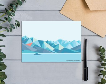 Lake Wanaka, New Zealand Modern Geometric Mountains Greeting Card