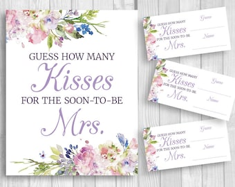 Guess How Many Kisses for the Soon-to-be Mrs. 8x10 Bridal Shower Sign and Guess Cards - Purple Lavender Watercolor Flowers, Instant Download