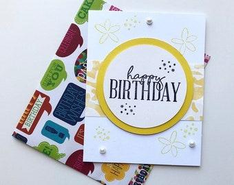 Yellow Gemstone Happy Birthday Card & Envelope