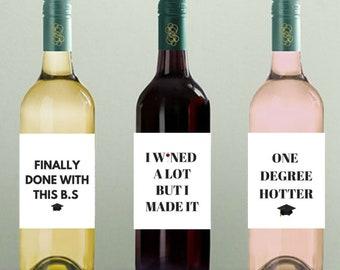 Graduation Wine Label Set- graduation party decorations, funny graduation decor, graduation 2018, Graduation wine labels, funny wine labels