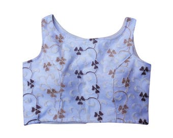 Embroidery Designer  Blouse with Boat Neck