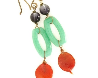 Autumn Leaves Beaded Glass Earrings with Vintage Glass Beads