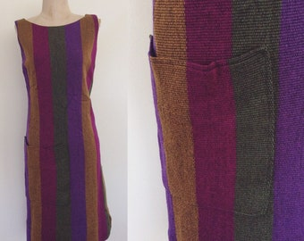1960's Woven Rainbow Shift Dress w/ Large Hip Pocket Size Small by Maeberry Vintage