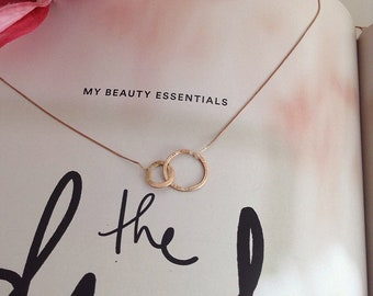 Rose Gold necklace. Eternity necklace in Solid Rose Gold. Eternity Ring Necklace.  Solid Rose Gold necklace. Gift for mom.