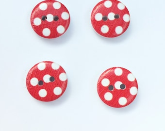 Painted Wood Buttons - Red and White Small Button - Polka Dot Flat Back Button - 4 Hole Button - 1/2 inch 15 mm Button - Sewing Notion Craft