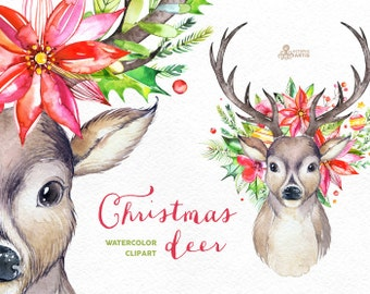 Christmas Deer. Watercolor deers, antlers, flowers, hand painted clipart, reindeer, floral, invite, country, diy clip art, horns, holiday