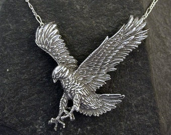 Sterling Silver Large Eagle  Pendant on Sterling Silver Chain.