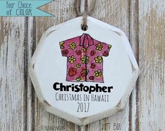 personalized hawaiian shirt ornament, Hawaiian christmas, Christmas ornaments, retirement, Hawaii memento,  tropical christmas tree