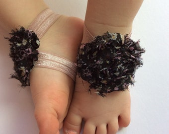 Floral baby barefoot sandals- shoes- barefoot sandals-floral