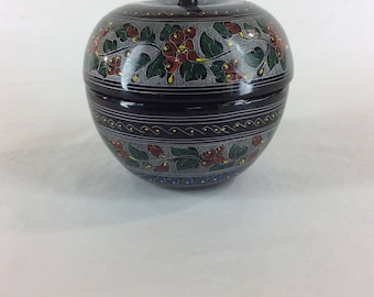 Black lacquer hand painted apple shaped box