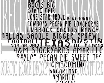 Texas word art typography JPEG PNG file
