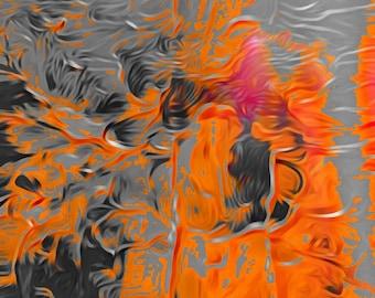 Orange abstrait technique mixte impression art fluide gris orange salon acrylique peinture impression impression toile acrylique fine art de décoration murale.