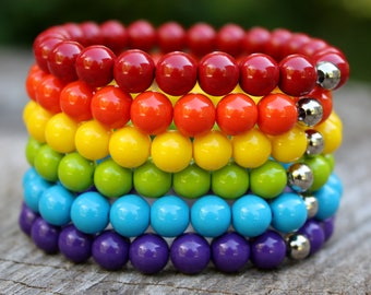 Rainbow Bracelets - Set Of 6 Stretch Bracelets - Stacking Bracelets - Red Orange Yellow Green Blue Purple - Colorful Beaded Bracelets