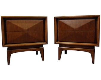 Pair of Mid-Century Danish Modern Walnut 3D Diamond Front Nightstands
