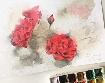 "Original flower watercolor, red roses,blooming roses,original painting,7""x10"",garden,home decor"