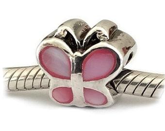 Papillon rose grand trou perle argent nacre
