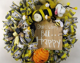 Bumble Bee Mesh Wreath, Don't Worry Bee Happy Mesh Wreath, Honey Bee Wreath, Bee Hive, Front Door Wreath