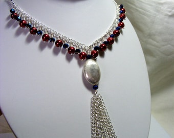Pearl and Blue Crystal Tassel Necklace