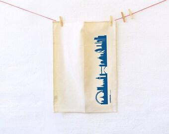Blue LONDON Dish towel Flour Sack, Natural Kitchen Tea Towel, London kitchen dishcloth, London Bohemian decor, housewarming wedding gift