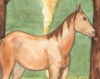 Original Art - Justice - Watercolor Horse Painting - Art from The Riderless Tarot