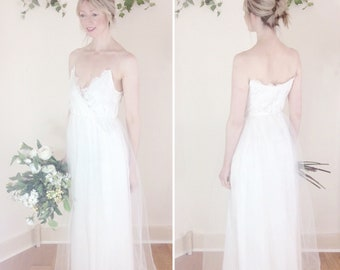 SALE - Simple wedding dress, spaghetti straps, Agnes cream Chantilly lace, tulle skirt - ready to wear sample size uk 10/12