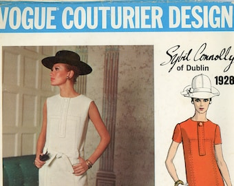 Original Vintage Vogue Couturier Sewing Pattern #1928 ca.1968 - Sybil Connolly of Dublin, designer - Uncut - Factory Folded