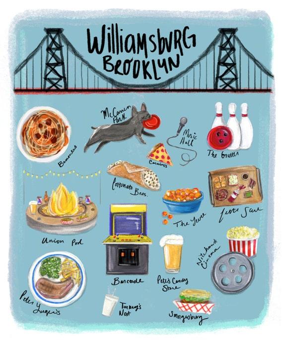8x10 williamsburg brooklyn art print illustration brooklyn reheart Images
