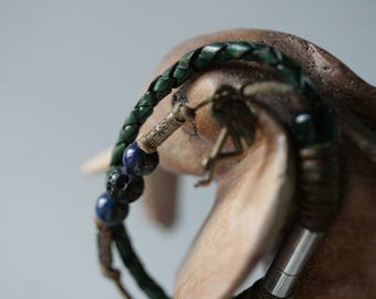 Leather bracelet with genuine lava stone and lapis lazuli