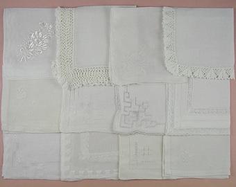 Vintage Hanky Lot of One Dozen White Wedding Vintage Hankies Handkerchiefs  (Lot #95)
