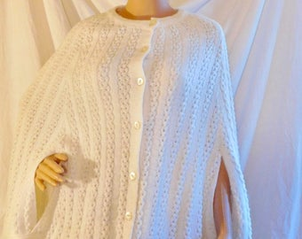 Vintage White Knit Cape White Poncho Button Front White Cape