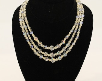 Clear crystal beaded vintage necklace