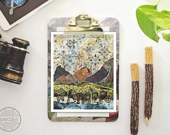 mixed media collage art - travel gift - travel print - mountain art