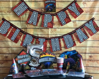Monster Truck Birthday Party Banner