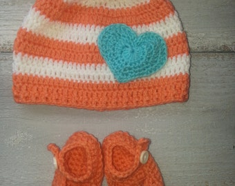 Crochet Baby Girl Beanie and Mary Janes, Coral and Teal, orange and blue