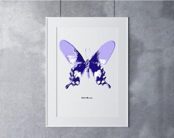Butterfly Art, Digital Art Print, Digital Art Download, Digital Graphics, Printable Art, Digital Print, Nature Art Print, Purple White