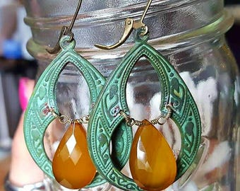 Verdigris brass chandelier earrings with yellow chalcedony