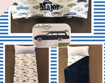 Nap Mat boys cars Navy with  blue blanket