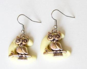 Moon and owl earrings