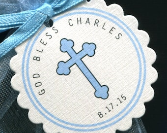 Christening Favor Tags - Baptism Favor Tags - Baby Boy - Blue - Cross - Personalized - Thank You Tags - Communion Favor Tags - Bag Tags