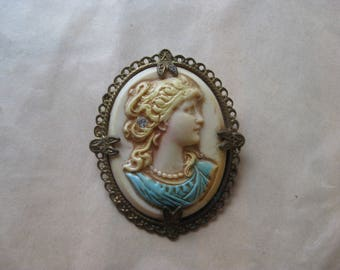 Woman Cameo Celluloid Rhinestone Brooch Vintage Ivory Blue Clear Gold Girl