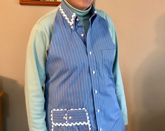 UPCYCLED APRON Made from Men's Dress Shirt