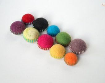 Felt Fridge Magnets - set of 10 Colorful magnets OOAK - Child Safe