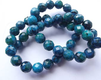 46 azurite tinted CHEBAR 424 8 mm faceted round beads