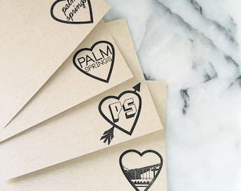 I Heart Palm Springs Note Cards, Set of 8 Flat Cards with Envelopes