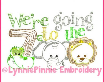 We're Going to the ZOO Colorwork Embroidery Design 4x4 5x7 6x10 Machine Embroidery Design File