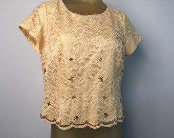 Gold Lace Formal Blouse Yellow Lace Beaded Top Gold Sequin Scalloped Edge Side Zip Evening Attire Elegant Yellow Vintage Blouse Cap Sleeve L