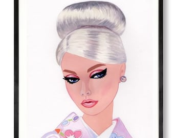 Poppy Parker pink Japan Barbie doll Original Painting size 10 x 8 inches,
