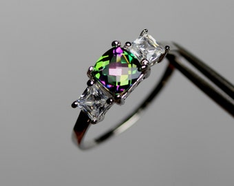 Charming Genuine Mystic Topaz in a Pretty Accented Sterling Silver Setting